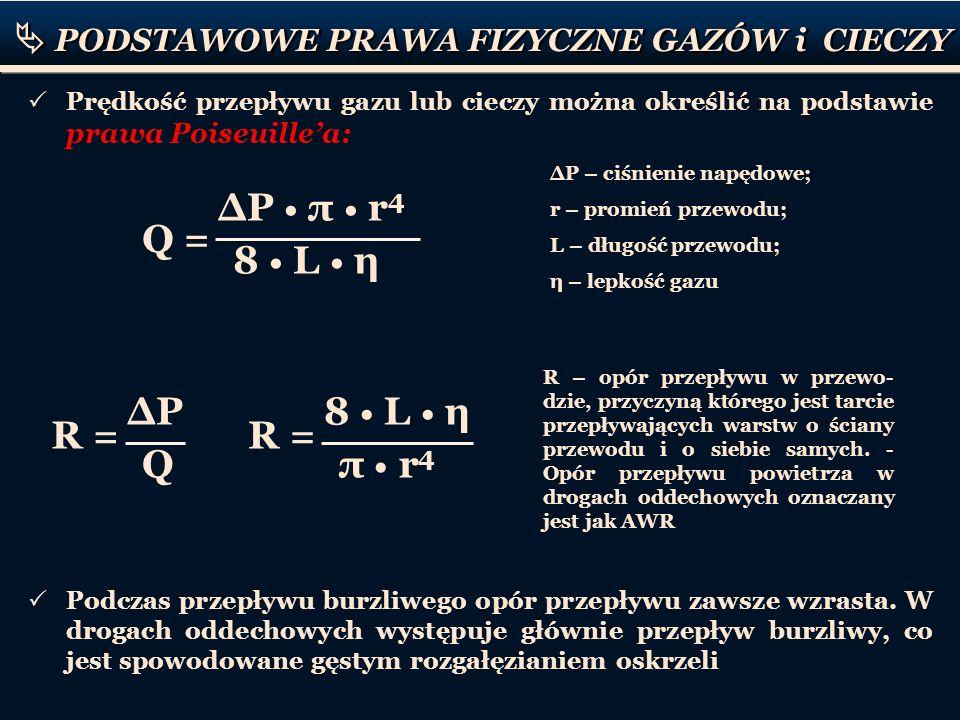 PODSTAWOWE PRAWA FIZYCZNE GAZÓW i CIECZY Prędkość przepływu gazu lub cieczy można określić na podstawie prawa Poiseuillea: Q = P π r 4 8 L η P – ciśni