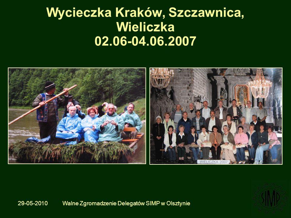 29-05-2010 Walne Zgromadzenie Delegatów SIMP w Olsztynie Wycieczka Kraków, Szczawnica, Wieliczka 02.06-04.06.2007