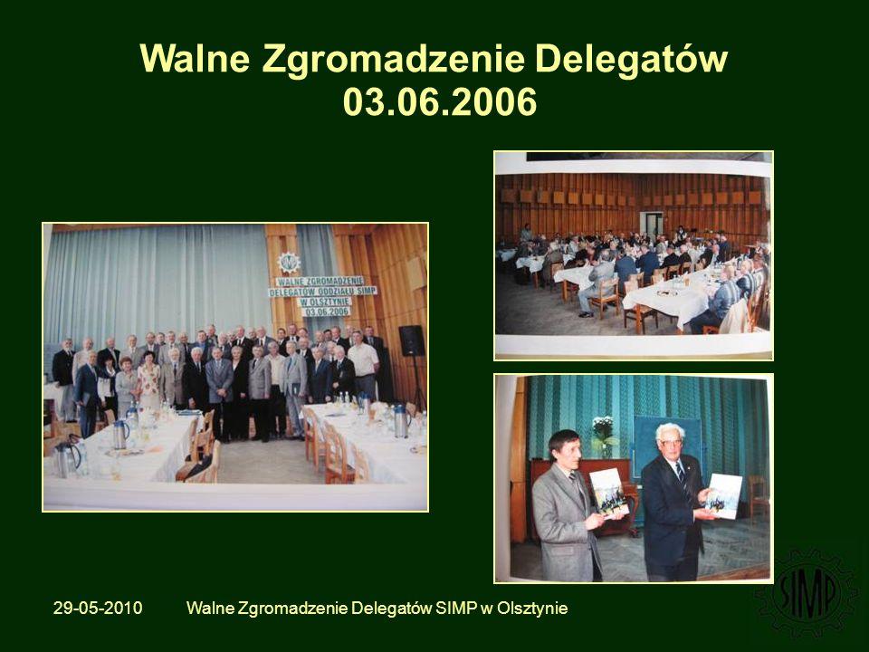 29-05-2010 Walne Zgromadzenie Delegatów SIMP w Olsztynie Walne Zgromadzenie Delegatów 03.06.2006