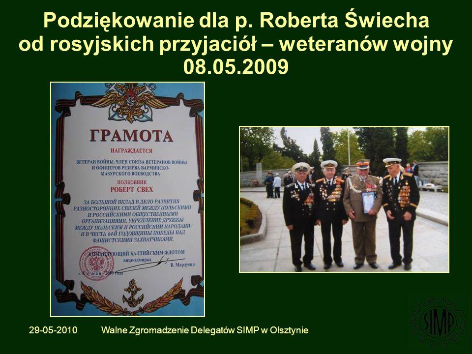 29-05-2010 Walne Zgromadzenie Delegatów SIMP w Olsztynie Podziękowanie dla p.