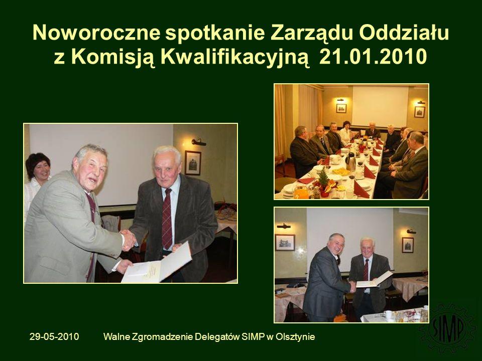 29-05-2010 Walne Zgromadzenie Delegatów SIMP w Olsztynie Noworoczne spotkanie Zarządu Oddziału z Komisją Kwalifikacyjną 21.01.2010