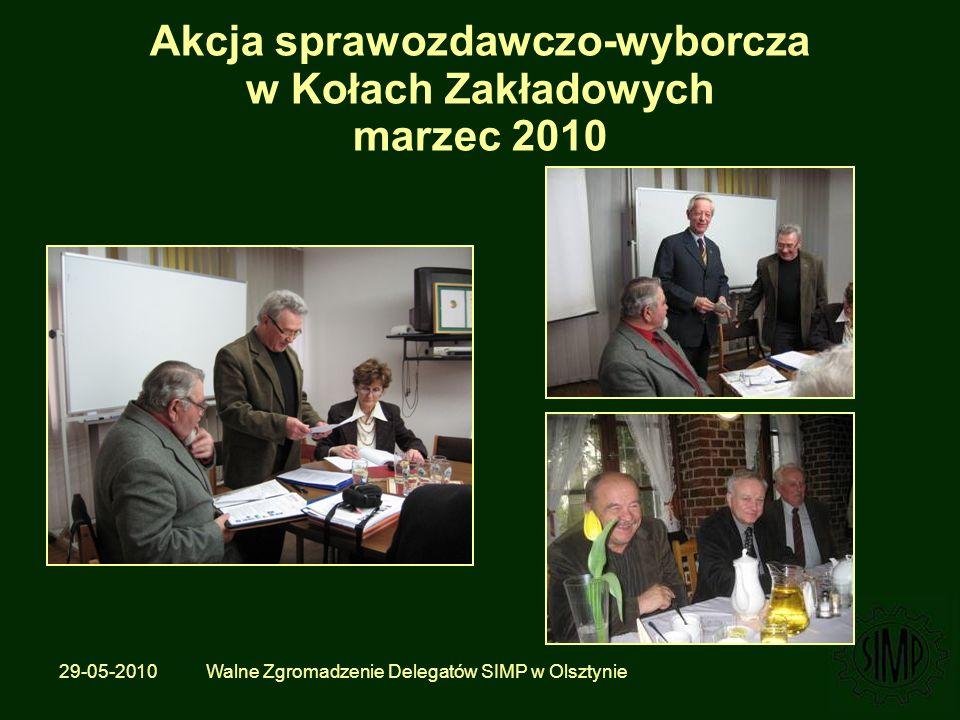 29-05-2010 Walne Zgromadzenie Delegatów SIMP w Olsztynie Akcja sprawozdawczo-wyborcza w Kołach Zakładowych marzec 2010