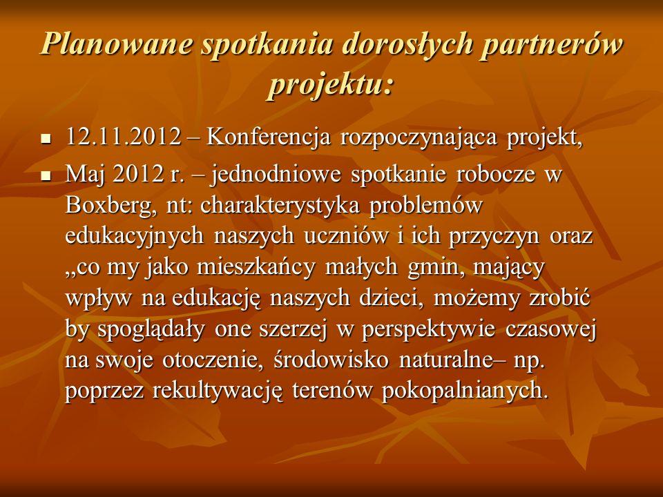 Planowane spotkania dorosłych partnerów projektu: 12.11.2012 – Konferencja rozpoczynająca projekt, 12.11.2012 – Konferencja rozpoczynająca projekt, Ma