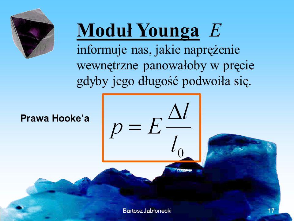 Bartosz Jabłonecki17 Moduł Younga E informuje nas, jakie naprężenie wewnętrzne panowałoby w pręcie gdyby jego długość podwoiła się. Prawa Hookea