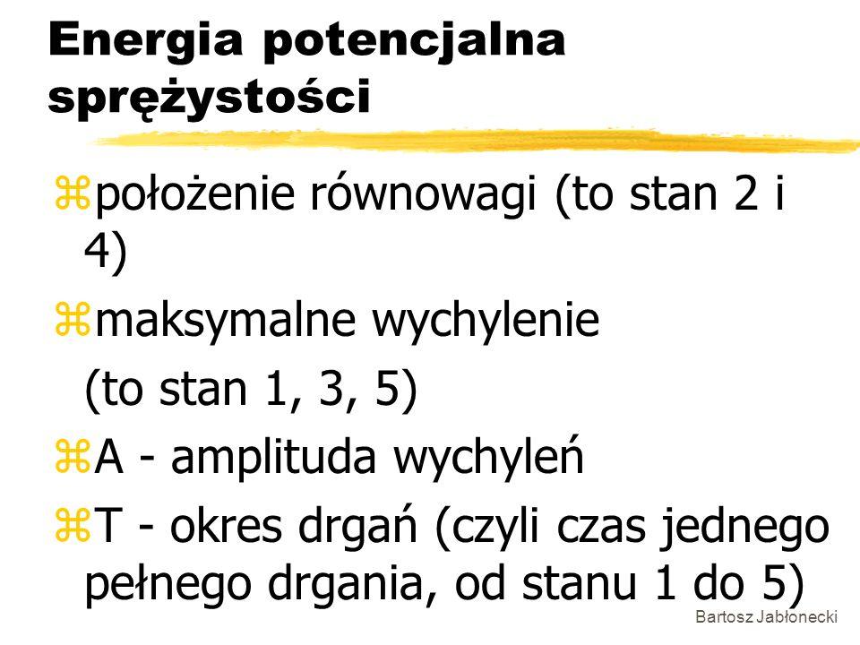 Bartosz Jabłonecki Energia potencjalna sprężystości zpołożenie równowagi (to stan 2 i 4) zmaksymalne wychylenie (to stan 1, 3, 5) zA - amplituda wychy
