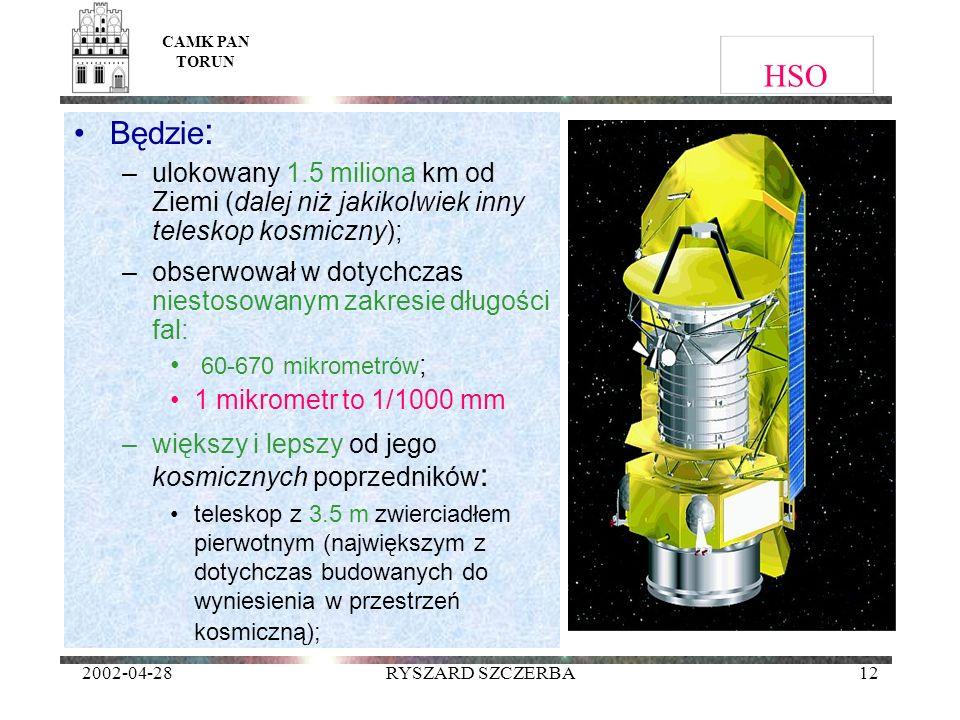 2002-04-28RYSZARD SZCZERBA12 HSO Będzie : –ulokowany 1.5 miliona km od Ziemi (dalej niż jakikolwiek inny teleskop kosmiczny); –obserwował w dotychczas