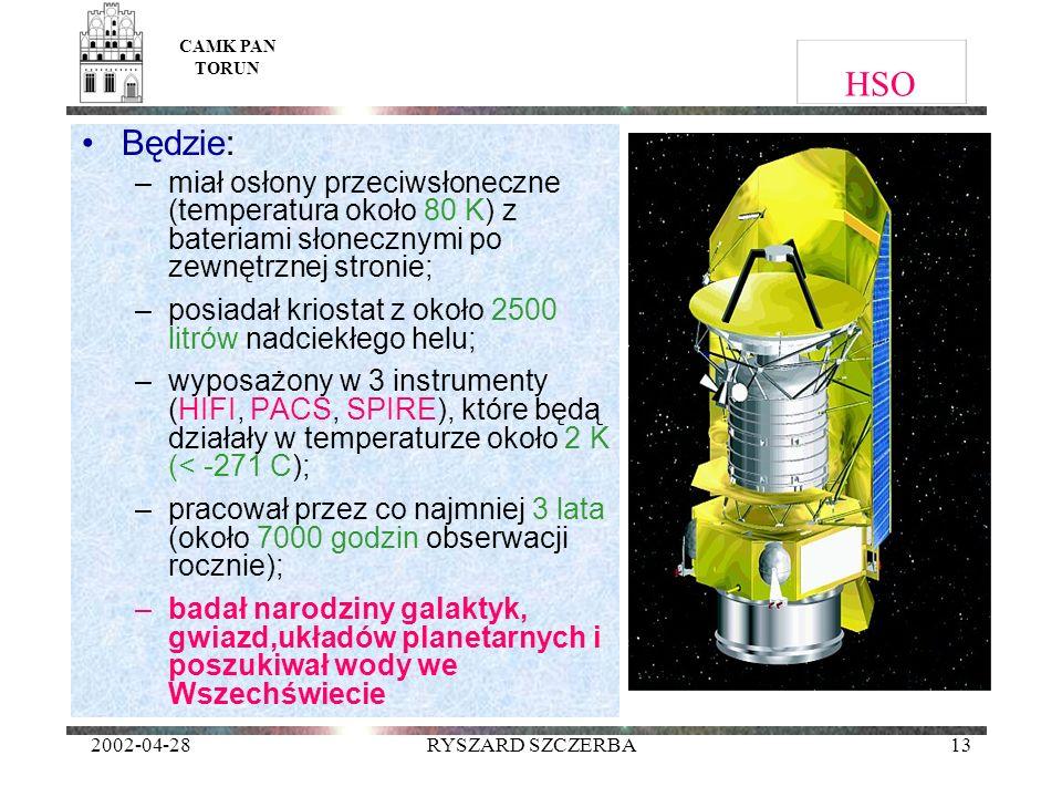 2002-04-28RYSZARD SZCZERBA13 HSO Będzie: –miał osłony przeciwsłoneczne (temperatura około 80 K) z bateriami słonecznymi po zewnętrznej stronie; –posia