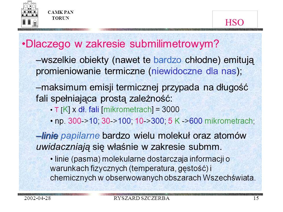 2002-04-28RYSZARD SZCZERBA15 HSO Dlaczego w zakresie submilimetrowym? –wszelkie obiekty (nawet te bardzo chłodne) emitują promieniowanie termiczne (ni