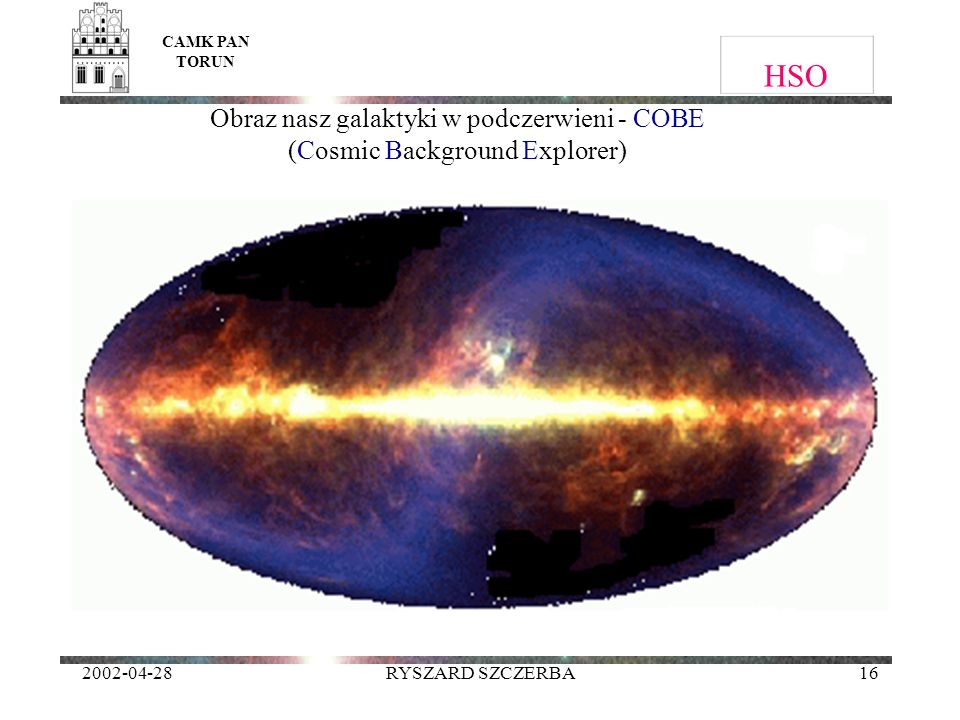 2002-04-28RYSZARD SZCZERBA16 HSO CAMK PAN TORUN Obraz nasz galaktyki w podczerwieni - COBE (Cosmic Background Explorer)