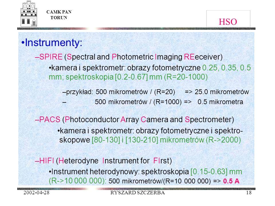 2002-04-28RYSZARD SZCZERBA18 HSO Instrumenty: –SPIRE (Spectral and Photometric Imaging REeceiver) kamera i spektrometr: obrazy fotometryczne 0.25, 0.3