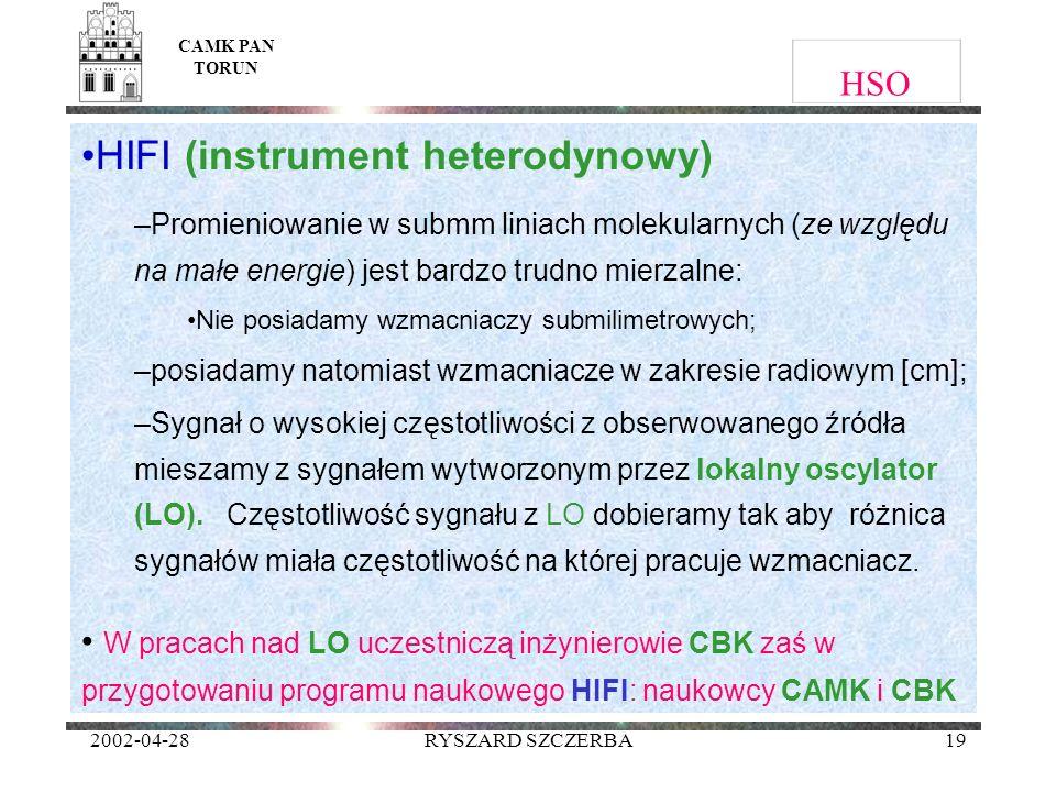 2002-04-28RYSZARD SZCZERBA19 HSO HIFI (instrument heterodynowy) –Promieniowanie w submm liniach molekularnych (ze względu na małe energie) jest bardzo