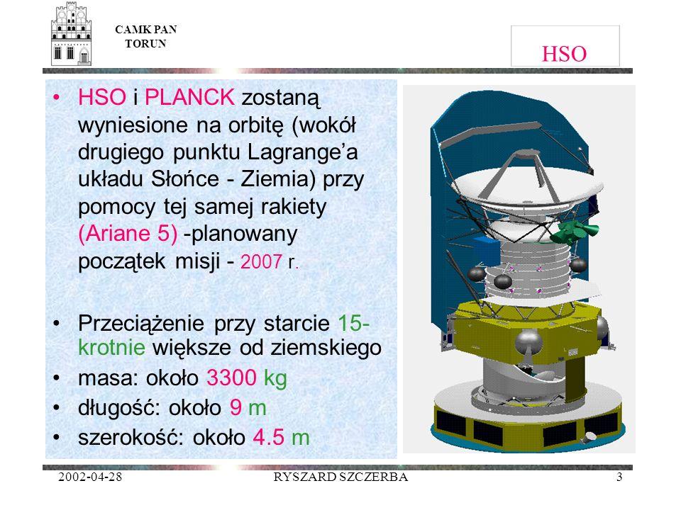 2002-04-28RYSZARD SZCZERBA3 HSO HSO i PLANCK zostaną wyniesione na orbitę (wokół drugiego punktu Lagrangea układu Słońce - Ziemia) przy pomocy tej sam