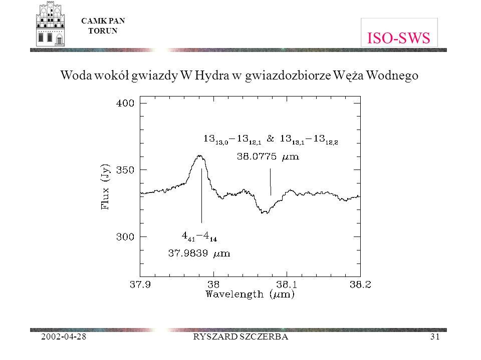 2002-04-28RYSZARD SZCZERBA31 ISO-SWS CAMK PAN TORUN Woda wokół gwiazdy W Hydra w gwiazdozbiorze Węża Wodnego