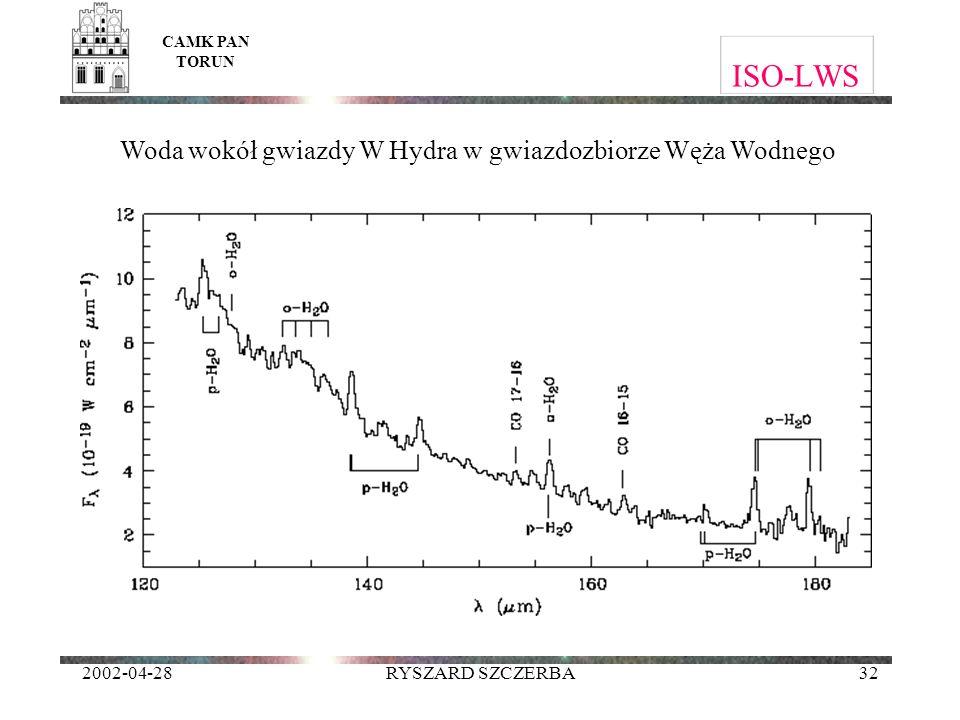 2002-04-28RYSZARD SZCZERBA32 ISO-LWS CAMK PAN TORUN Woda wokół gwiazdy W Hydra w gwiazdozbiorze Węża Wodnego