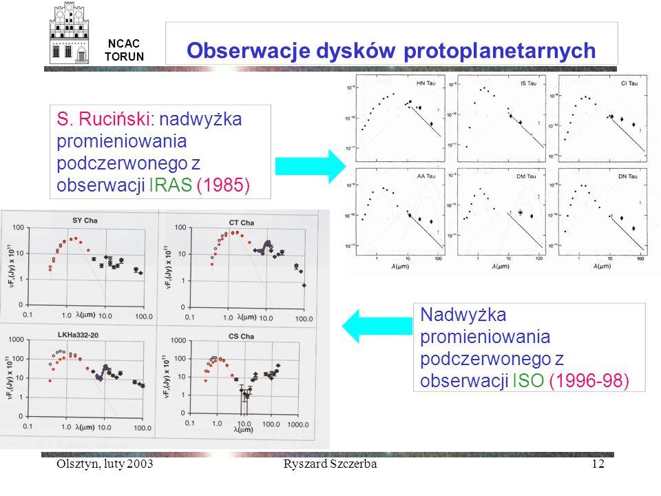 Olsztyn, luty 2003Ryszard Szczerba12 NCAC TORUN Obserwacje dysków protoplanetarnych S. Ruciński: nadwyżka promieniowania podczerwonego z obserwacji IR