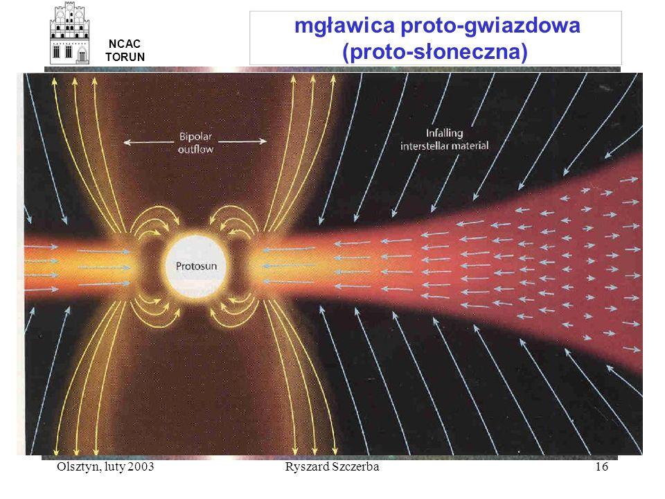 Olsztyn, luty 2003Ryszard Szczerba16 mgławica proto-gwiazdowa (proto-słoneczna) NCAC TORUN
