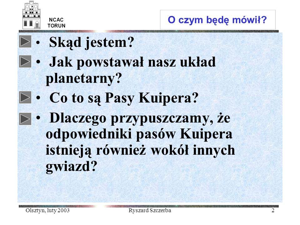 Olsztyn, luty 2003Ryszard Szczerba23 NCAC TORUN Obiekty pasa Kuipera Ocenia się, że w pasie Kuipera (30-50 AU) jest około 100 tysięcy obiektów o promieniu większym od 100 km (0.1M Z ) KBO –klasyczne (42<a<50AU) 2/3 –rezonansowe z Neptunem (3:2) a~40 AU 1/3 –rozproszone Powrót
