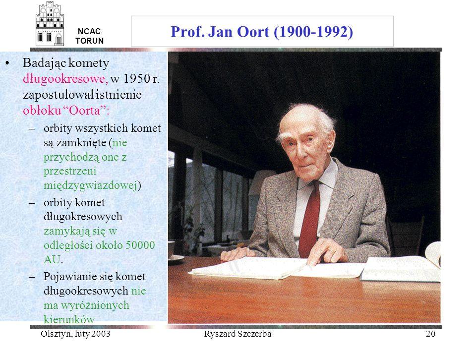 Olsztyn, luty 2003Ryszard Szczerba20 NCAC TORUN Prof. Jan Oort (1900-1992) Badając komety długookresowe, w 1950 r. zapostulował istnienie obłoku Oorta