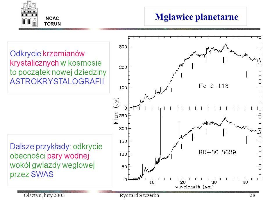 Olsztyn, luty 2003Ryszard Szczerba28 Mgławice planetarne NCAC TORUN Odkrycie krzemianów krystalicznych w kosmosie to początek nowej dziedziny ASTROKRY