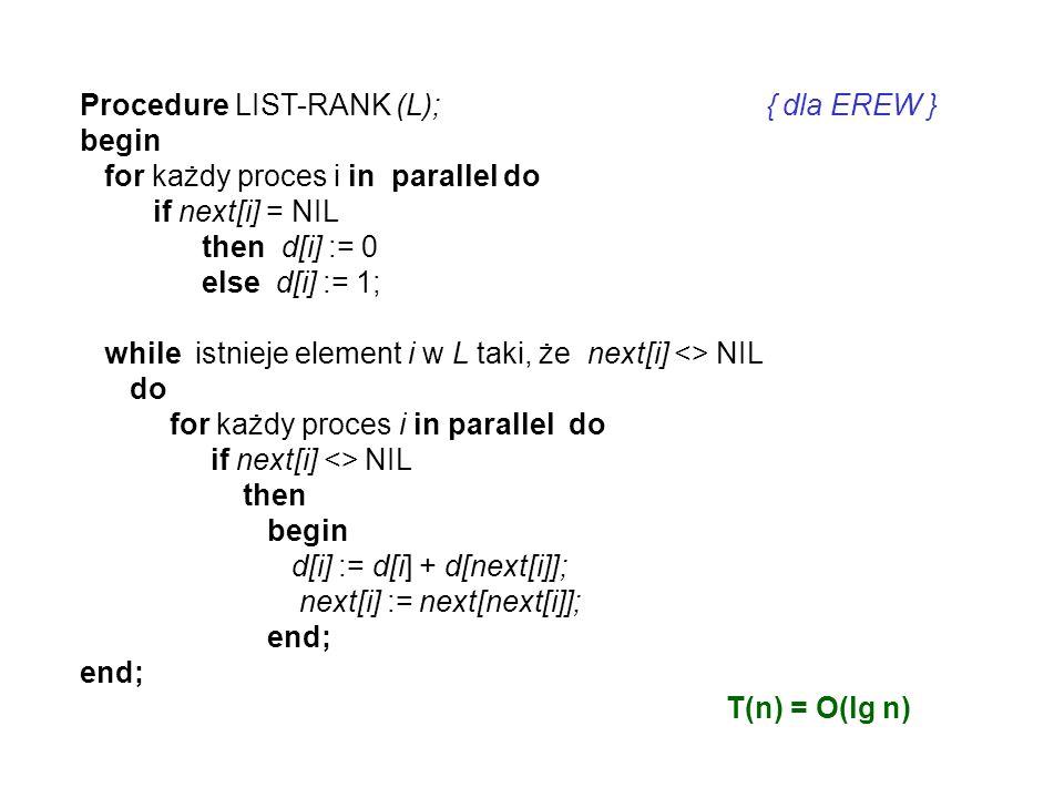 OBLICZENIA PREFIKSOWE NA LIŚCIE DANE: n, X = (x 1, x 2,...