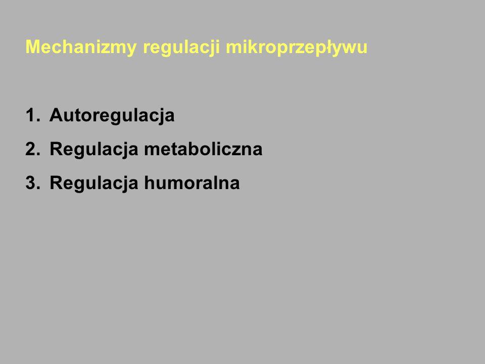 Mechanizmy regulacji mikroprzepływu 1.Autoregulacja 2.Regulacja metaboliczna 3.Regulacja humoralna