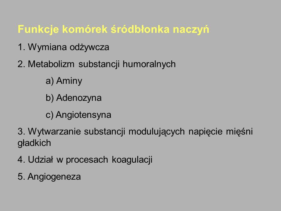 Funkcje komórek śródbłonka naczyń 1. Wymiana odżywcza 2. Metabolizm substancji humoralnych a) Aminy b) Adenozyna c) Angiotensyna 3. Wytwarzanie substa