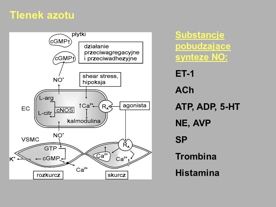 Tlenek azotu Substancje pobudzające syntezę NO: ET-1 ACh ATP, ADP, 5-HT NE, AVP SP Trombina Histamina