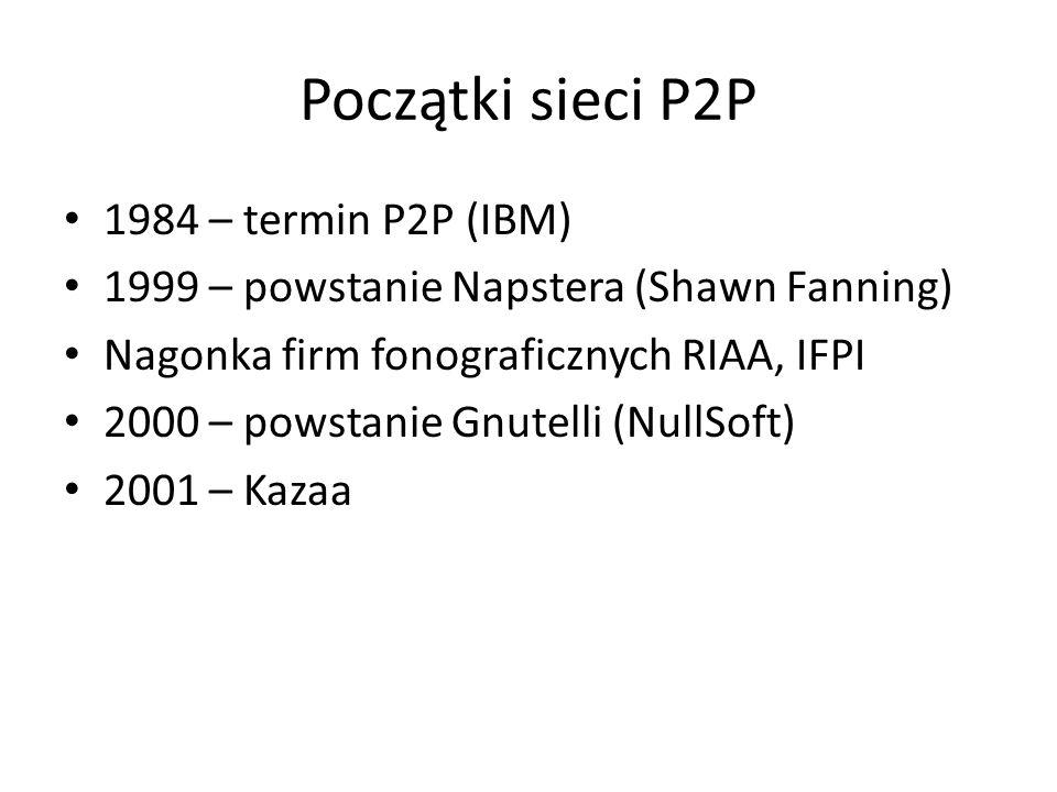 Co to są sieci P2P? Sieć typu P2P są to komputery połączone siecią, wśród których nie można wyróżnić klientów i serwerów Każdy komputer (peer) może by