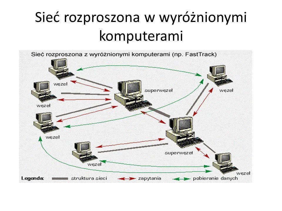 Gnutella Zalety – trudny do zlokalizowania serwer, bo... go nie ma Wady – mało efektywne wyszukiwanie (zapytania do wszystkich węzłów)