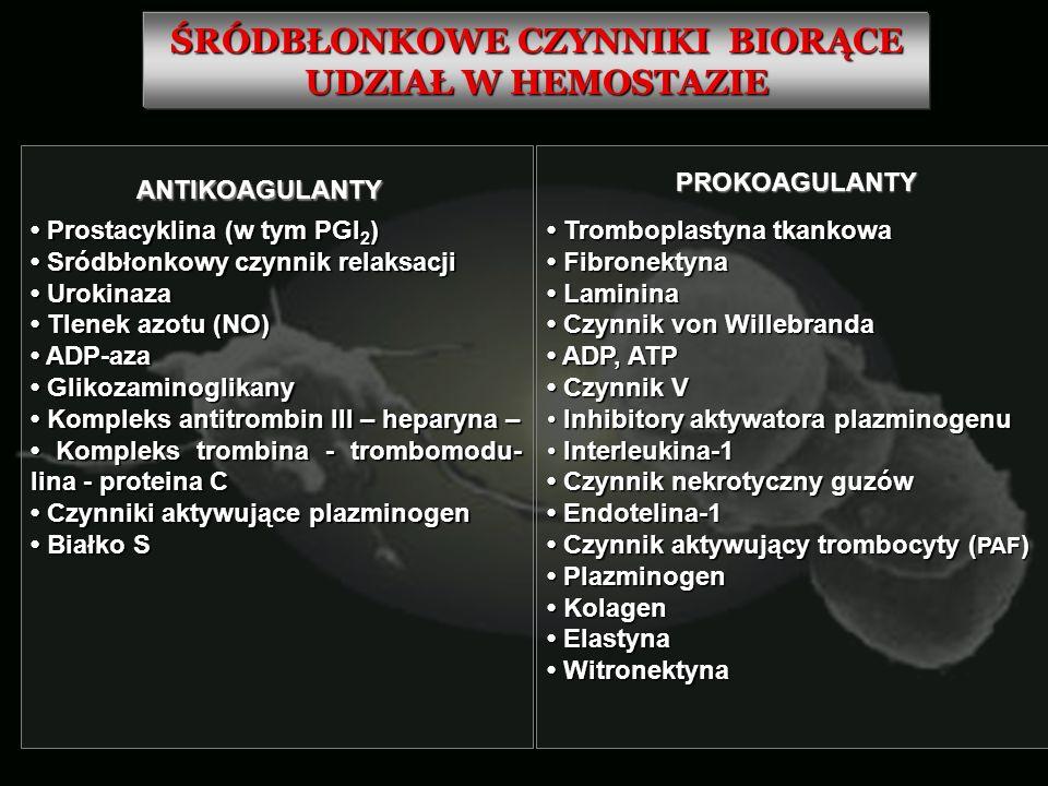 ŚRÓDBŁONKOWE CZYNNIKI BIORĄCE UDZIAŁ W HEMOSTAZIE Prostacyklina (w tym PGI 2 ) Prostacyklina (w tym PGI 2 ) Sródbłonkowy czynnik relaksacji Sródbłonko