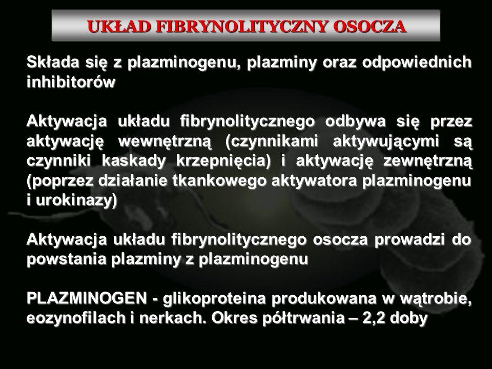 UKŁAD FIBRYNOLITYCZNY OSOCZA Składa się z plazminogenu, plazminy oraz odpowiednich inhibitorów Aktywacja układu fibrynolitycznego odbywa się przez akt