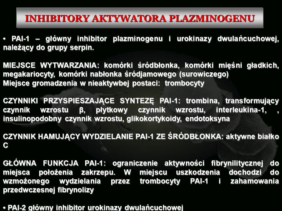 INHIBITORY AKTYWATORA PLAZMINOGENU PAI-1 – główny inhibitor plazminogenu i urokinazy dwulańcuchowej, należący do grupy serpin. PAI-1 – główny inhibito