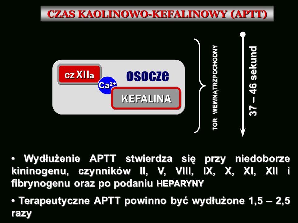 CZAS KAOLINOWO-KEFALINOWY (APTT) Wydłużenie APTT stwierdza się przy niedoborze kininogenu, czynników II, V, VIII, IX, X, XI, XII i fibrynogenu oraz po