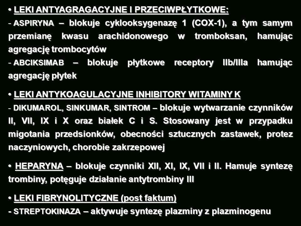 LEKI ANTYAGRAGACYJNE I PRZECIWPŁYTKOWE: LEKI ANTYAGRAGACYJNE I PRZECIWPŁYTKOWE: - ASPIRYNA – blokuje cyklooksygenazę 1 (COX-1), a tym samym przemianę