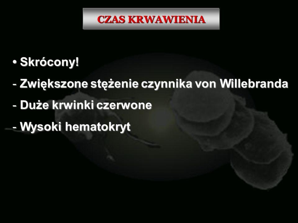 CZAS KRWAWIENIA Skrócony! Skrócony! - Zwiększone stężenie czynnika von Willebranda - Duże krwinki czerwone - Wysoki hematokryt
