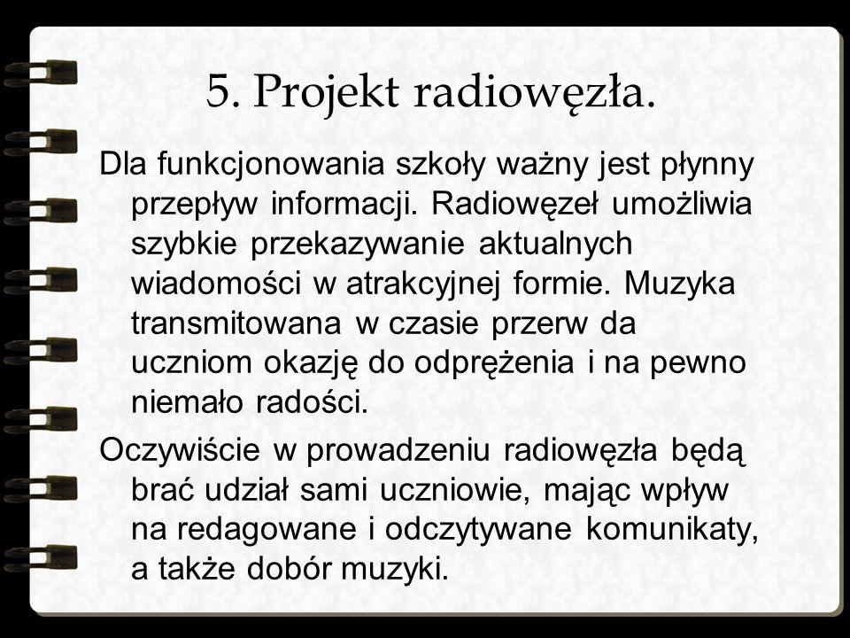 5. Projekt radiowęzła. Dla funkcjonowania szkoły ważny jest płynny przepływ informacji. Radiowęzeł umożliwia szybkie przekazywanie aktualnych wiadomoś