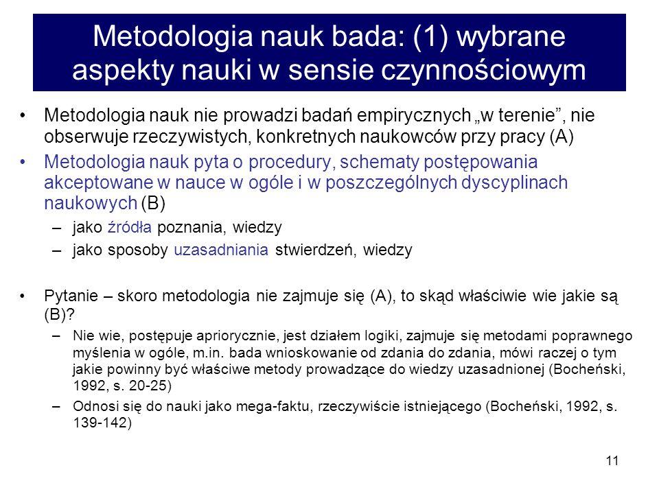 11 Metodologia nauk bada: (1) wybrane aspekty nauki w sensie czynnościowym Metodologia nauk nie prowadzi badań empirycznych w terenie, nie obserwuje r