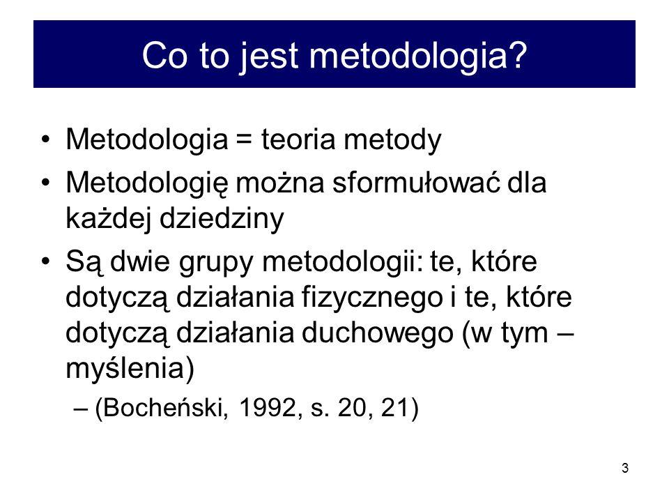 3 Co to jest metodologia? Metodologia = teoria metody Metodologię można sformułować dla każdej dziedziny Są dwie grupy metodologii: te, które dotyczą