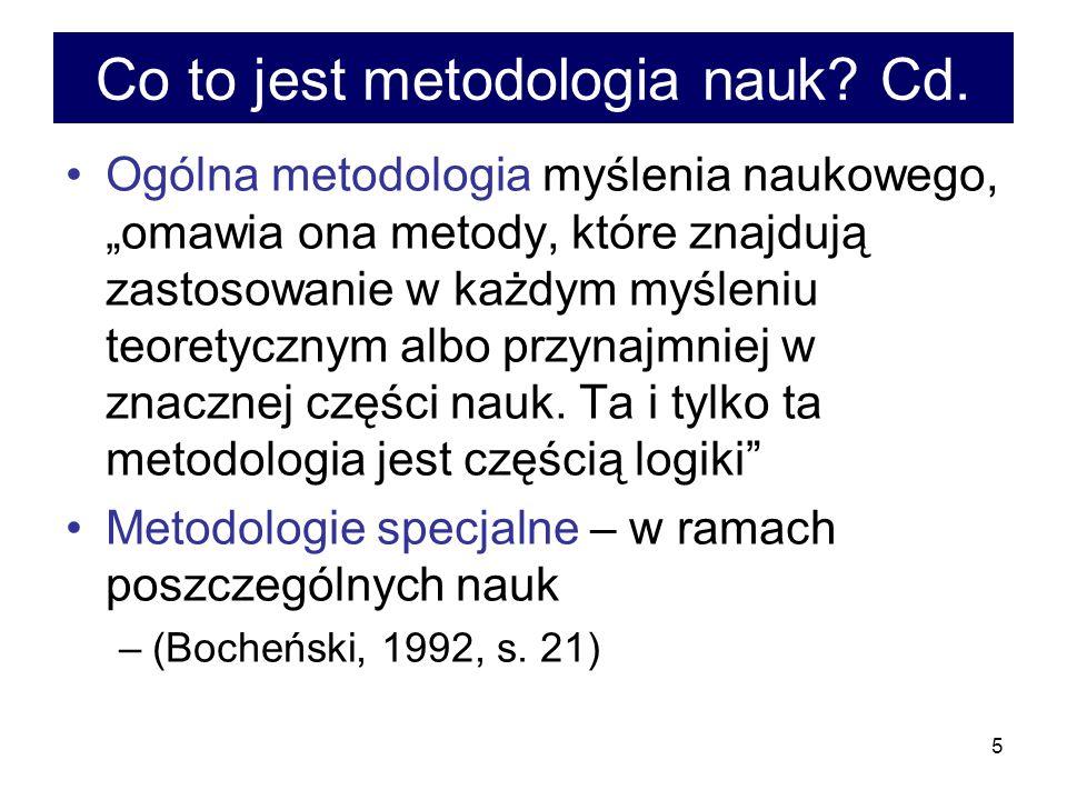 6 Metodologia nauki i metodologia nauk Metodologia nauki – bada to, co wspólne dla wielu nauk (dyscyplin naukowych) Metodologia nauk – bada osobliwości poszczególnych dyscyplin –(Bronk, 1992, s.