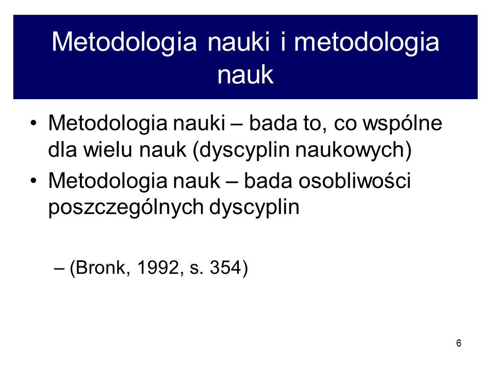 6 Metodologia nauki i metodologia nauk Metodologia nauki – bada to, co wspólne dla wielu nauk (dyscyplin naukowych) Metodologia nauk – bada osobliwośc