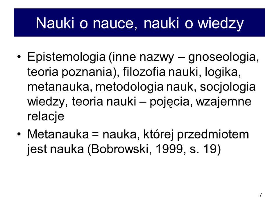 8 Metodologia a logika Metodologia ogólna = ta część logiki, która dotyczy zastosowania praw logicznych do praktyki myślenia (Bocheński, 1992, s.