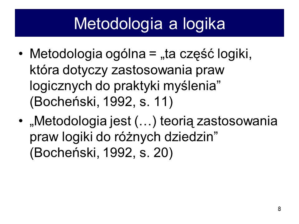 8 Metodologia a logika Metodologia ogólna = ta część logiki, która dotyczy zastosowania praw logicznych do praktyki myślenia (Bocheński, 1992, s. 11)