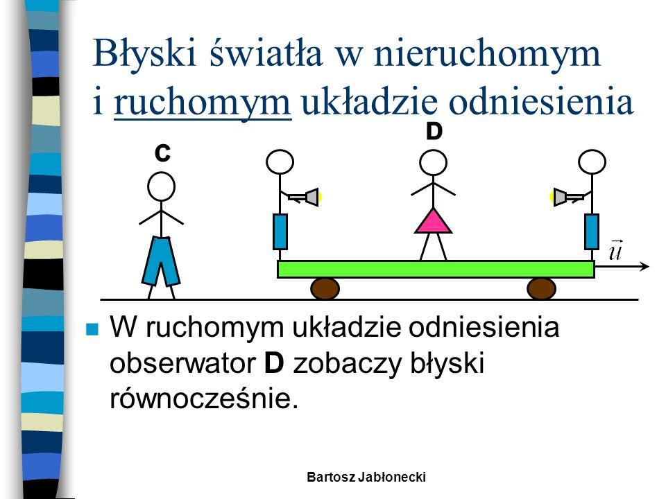 Bartosz Jabłonecki Zadanie domowe n Oblicz prędkość pocisku zbliżającego się do Ziemi, wiedząc, że został wystrzelony z prędkością 0,6c z rakiety poruszającej się z prędkością 0,4c.