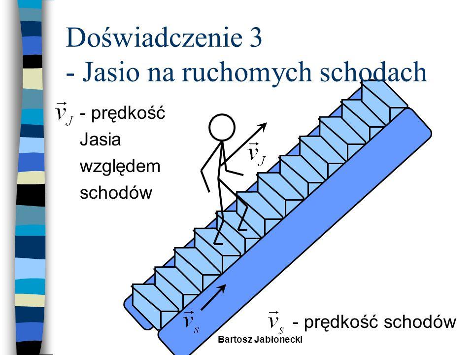 Bartosz Jabłonecki Doświadczenie 3 - Jasio na ruchomych schodach n Załóżmy, że Jasio biegnie po schodach n a schody mają szybkość n otrzymamy: n znając wzór na dodawanie prędkości