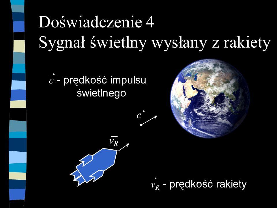 Bartosz Jabłonecki Doświadczenie 4 Sygnał świetlny wysłany z rakiety n Wiemy, że impuls światła ma prędkość n i załóżmy, że rakieta szybkość n otrzymamy: n znając wzór na dodawanie prędkości