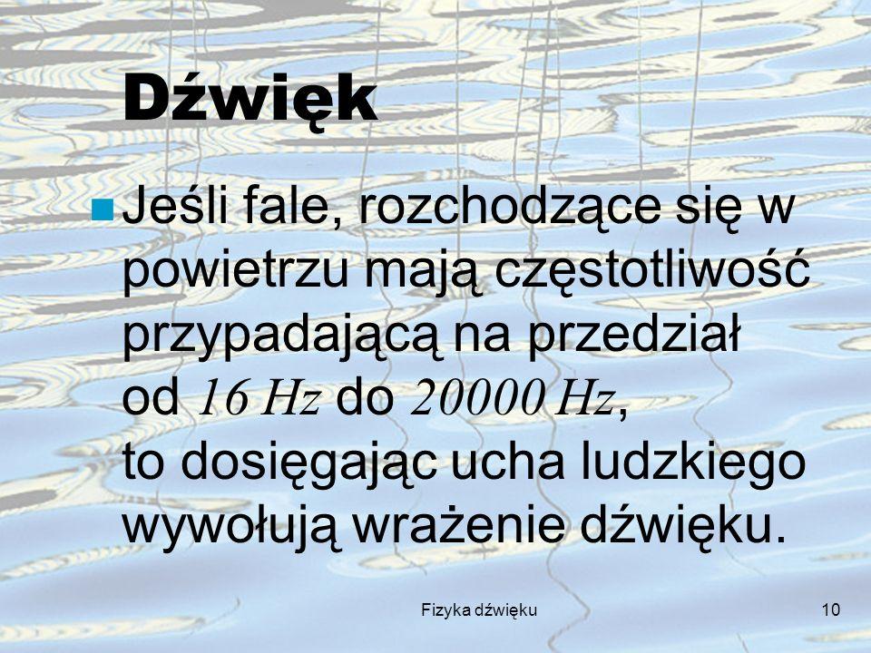 Fizyka dźwięku10 Dźwięk Jeśli fale, rozchodzące się w powietrzu mają częstotliwość przypadającą na przedział od 16 Hz do 20000 Hz, to dosięgając ucha