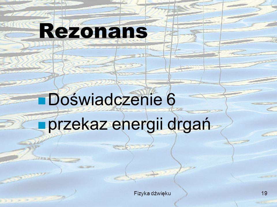 Fizyka dźwięku19 Rezonans n Doświadczenie 6 n przekaz energii drgań