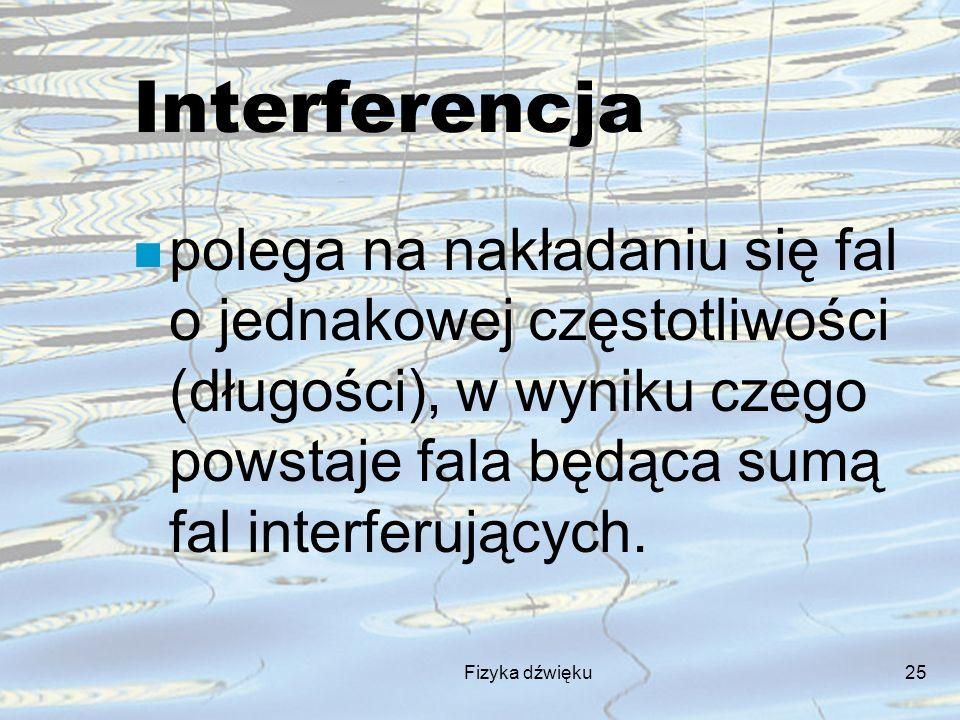 Fizyka dźwięku25 Interferencja n polega na nakładaniu się fal o jednakowej częstotliwości (długości), w wyniku czego powstaje fala będąca sumą fal int