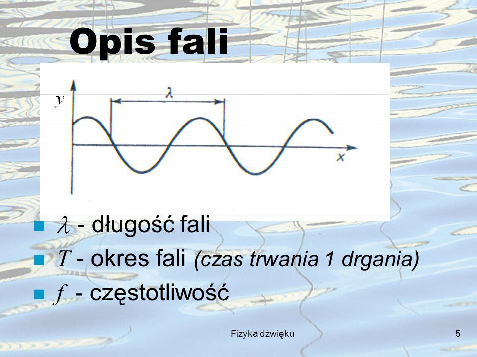 Fizyka dźwięku5 Opis fali n - długość fali T - okres fali (czas trwania 1 drgania) f - częstotliwość