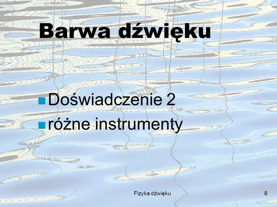 Fizyka dźwięku8 Barwa dźwięku n Doświadczenie 2 n różne instrumenty